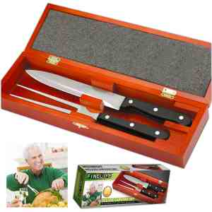Carving Set In Red Wood Box - NV-00511