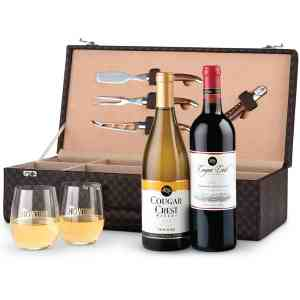 Executive Wine Tote with Riedel Tumblers  - Cougar Crest 11969