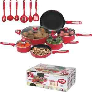 Chef's Secret 16-Pc Red Aluminum Cookware Set - RKT3567