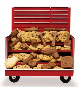 Lrg tool chest cookies and chocolae
