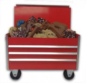 Small Tool Cart Edible Gift With Cookies, Peppermint Bark, Choclate Covered Oreos and Themed Chocolate Tools