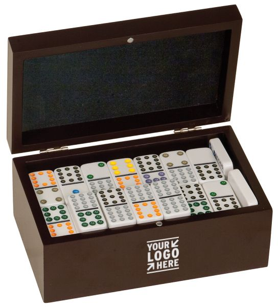 """Gorgeous Rosewood finish gift presentation box with Poker set. Personalized! With your Logo, monogram, etc Great for corporate, executive gifts, incentives, promotions,etc.. Magnetic closure, silver, hinges & inside lid of box has velvet lining-bottom side of box has velvet also. 91 dominoes-double twelves set-white with colored numbers. Overall size 7 7/8 wide, 3 1/8 tall, 4 3/4"""" deep. Packaging: set is wrapped in bubble wrap and in a white cardboard box."""