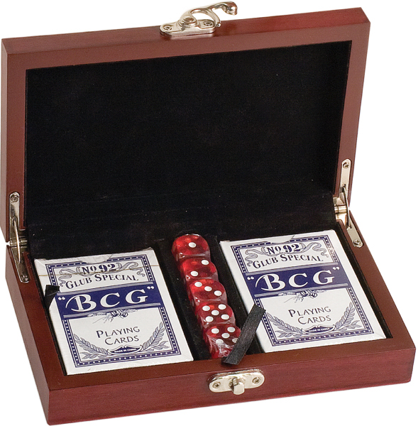 """Gorgeous Rosewood finish gift presentation box of Card & Dice set. Personalized! With your Logo or message included on a gold plate-front & center! 6 1/2 x 18 3/4"""" Includes 2 desk of cards and 5 dice. Great for corporate and executive gifts, incentives and promotions, and restaurants. Box in lined with black felt, has gold hardware & comes individually boxed. Perfect promotional product!"""