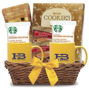 Starbucks Coffee & Cookies Double Yellow Mug Gift Basket