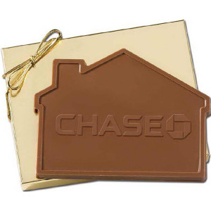 real estate gifts 32 oz custom house shaped chocolate in gold gift box