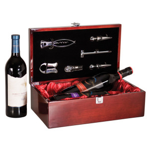Laserable Rosewood Piano Finish Double Wine Box w/ Tools