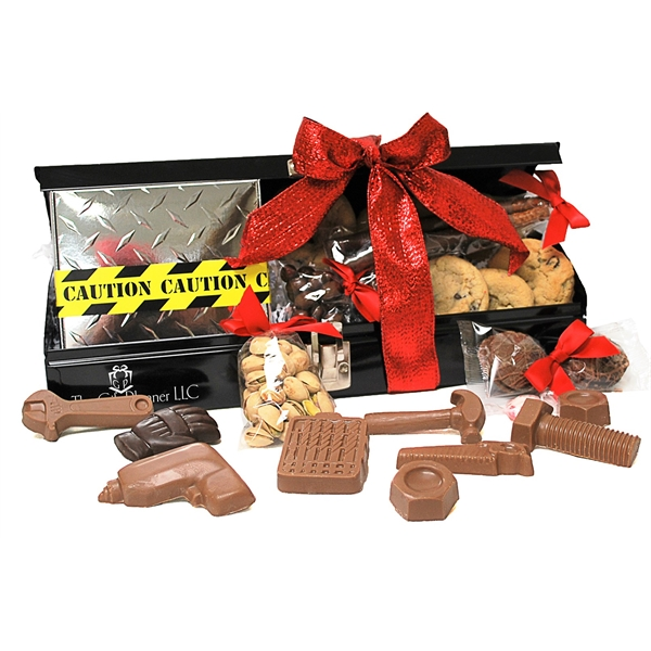 Chocolate and Cookie Construction Themed Toolbox Gifts By The Gift Planner