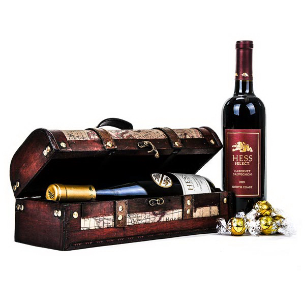 Hess Wine in a Wooden Wine Chest