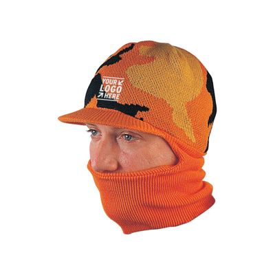 Camouflage knitted beanie with neck gaiter