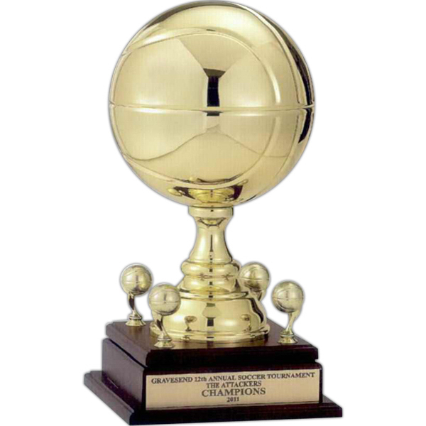 Full size all metal sport ball trophy on walnut finish base