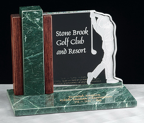 Glass golf desk award