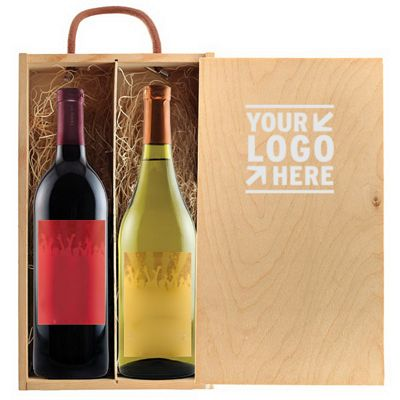 Rustic Laser Engraved Wood box With Custom Label Wine