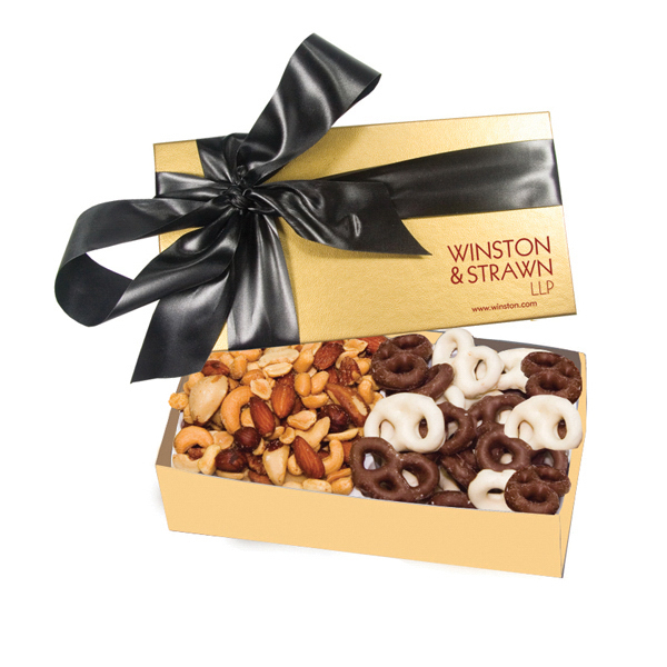 The Executive Chocolate Covered Pretzel & Mixed Nut Gift Box